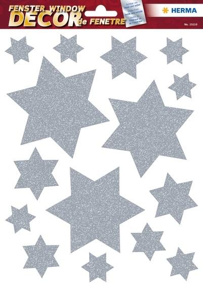 HERMA 15110 5x Fensterdecor Sterne Silber