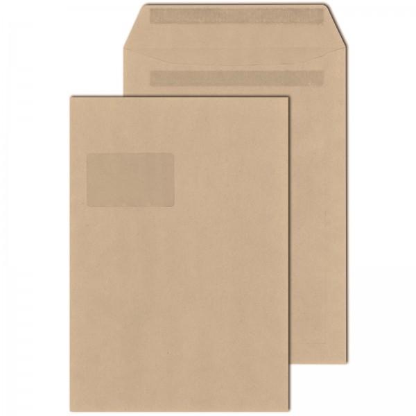 Versandtaschen DIN C4 90 g/m² mit Fenster Selbstklebend Braun