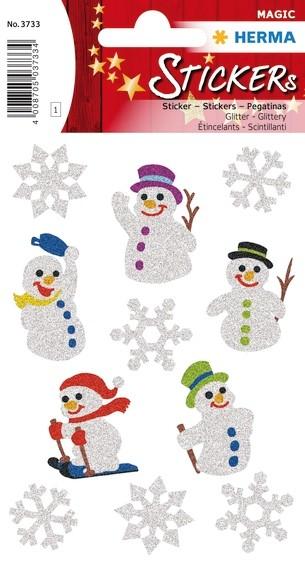 HERMA 3733 10x Sticker MAGIC Schneemänner, glittery