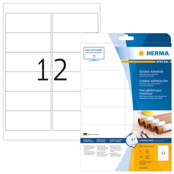 HERMA 9533 Etiketten A4 Outdoor Klebefolie 99,1x42,3 mm weiß ext
