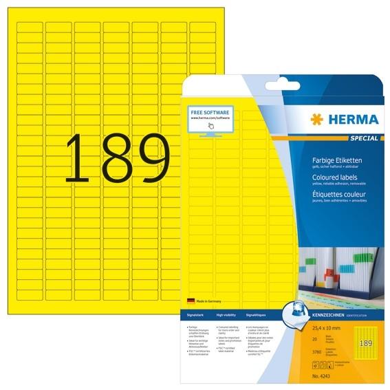 HERMA 4243 Farbige Etiketten A4 25,4x10 mm gelb ablösbar Papier