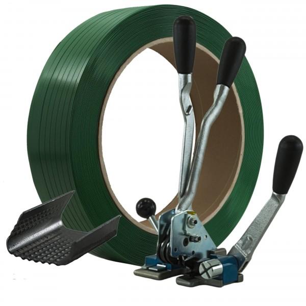 16 mm PET Umreifung Set Umreifungsband Abrollwagen Verschlussger