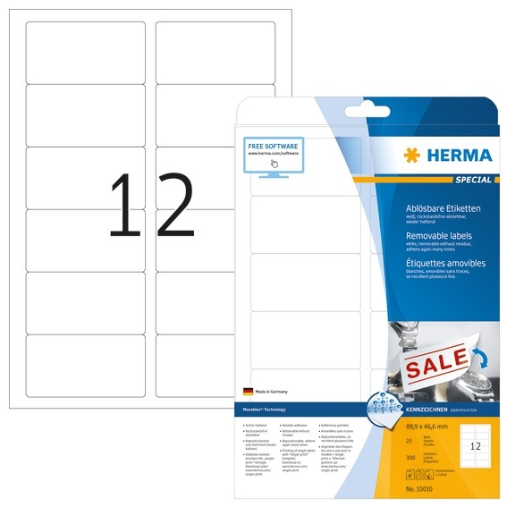 HERMA 10010 Ablösbare Etiketten A4 88,9x46,6 mm weiß Movables/ab