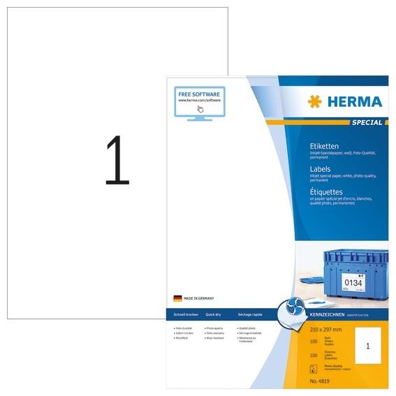 HERMA 4819 Inkjet-Etiketten A4 210x297 mm weiß Papier matt 100 S