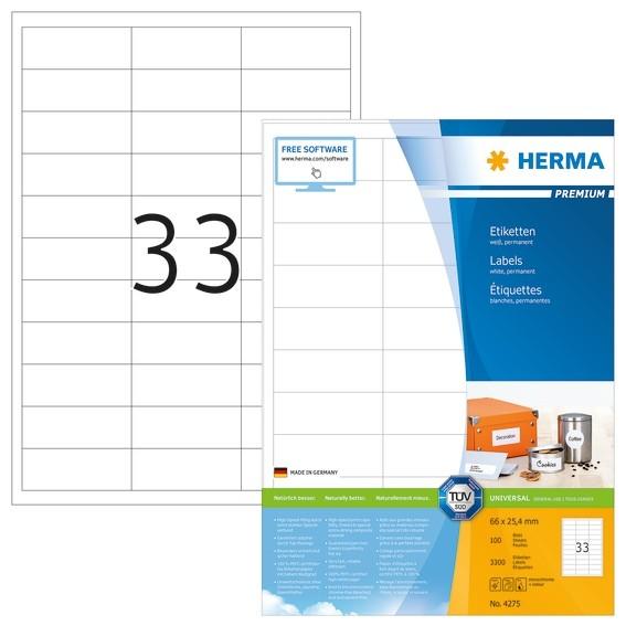 HERMA 4275 Etiketten Premium A4 66x25,4 mm weiß Papier matt 3300