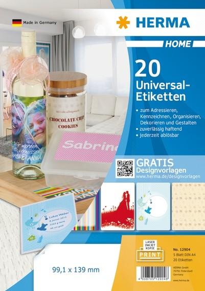 HERMA 12904 Ablösbare Universal-Etiketten A4 99,1x139 mm weiß Pa