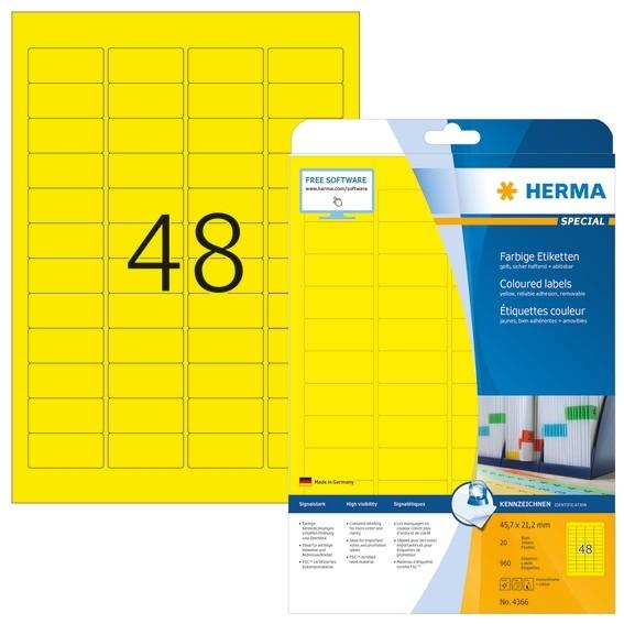 HERMA 4366 Farbige Etiketten A4 45,7x21,2 mm gelb ablösbar Papie