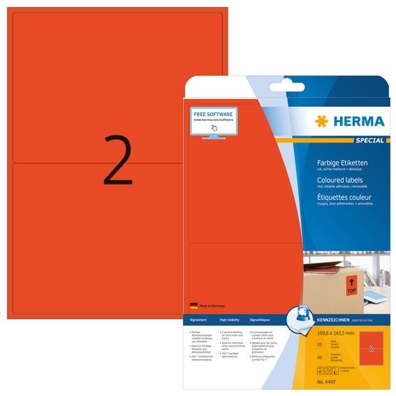 HERMA 4497 Farbige Etiketten A4 199,6x143,5 mm rot ablösbar Papi