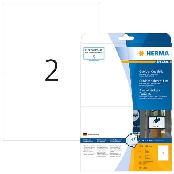 HERMA 9535 Etiketten A4 Outdoor Klebefolie 210x148 mm weiß extre