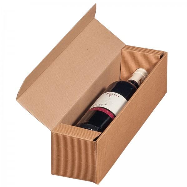 Geschenkkarton für 1 Flasche Wein 92 x 96 x 385 mm Natur