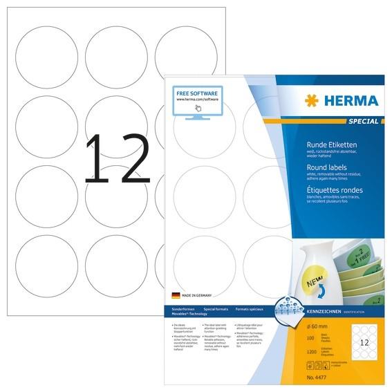 HERMA 4477 Ablösbare Etiketten A4 Ø 60 mm rund weiß Movables/abl