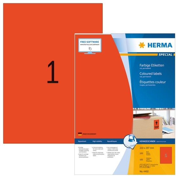 HERMA 4402 Farbige Etiketten A4 210x297 mm rot Papier matt 100 S