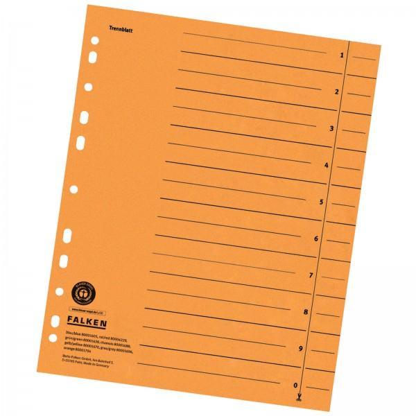 Trennblätter DIN A4 aus Manilakarton 230 g/m² Orange