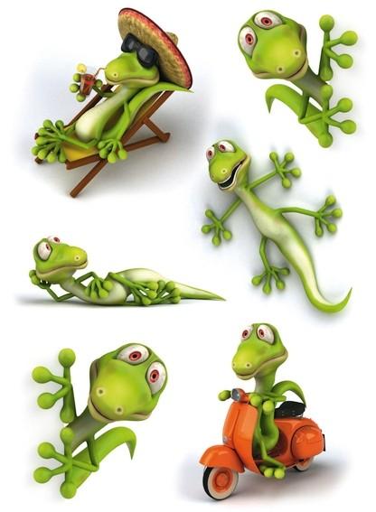 HERMA 3246 10x Sticker MAGIC Geckos, 3D-Folie