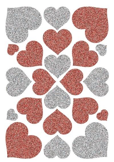 HERMA 6387 10x Sticker MAGIC Herzen Rot & Silber, Glittery