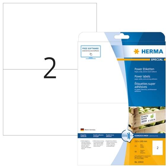 HERMA 10910 Etiketten A4 210x148 mm weiß extrem stark haftend Pa