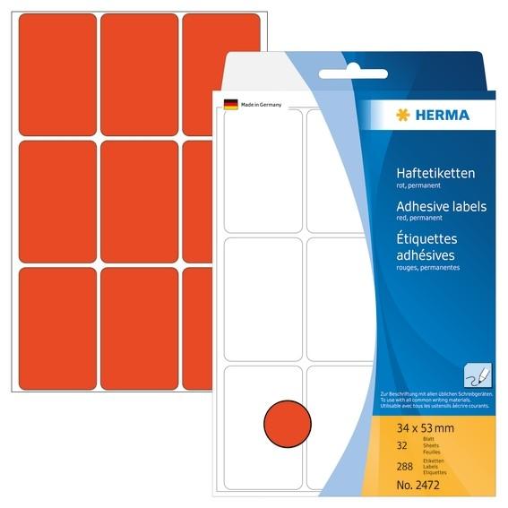 HERMA 2472 Vielzwecketiketten 34x53 mm rot Papier matt Handbesch
