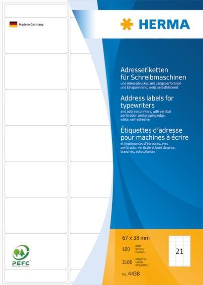 HERMA 4438 Adressetiketten für Schreibmaschinen A4 67x38 mm Papi