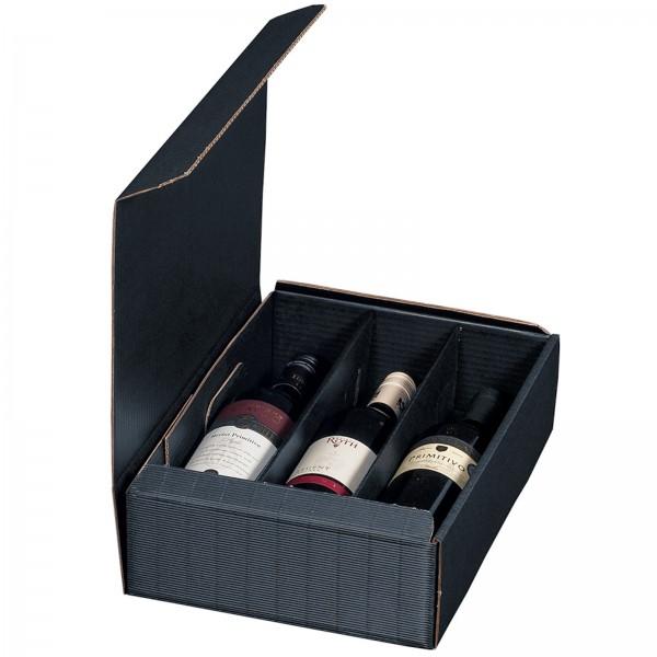 Geschenkkarton für 3 Flaschen Wein 252 x 96 x 363 mm Blau