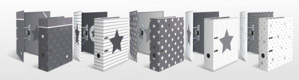 HERMA 7193 10x Motivordner A4 Stars - Weiß mit grauen Sternen