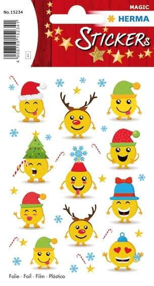 HERMA 15234 10x Sticker MAGIC Weihnachtsemojis, Folie