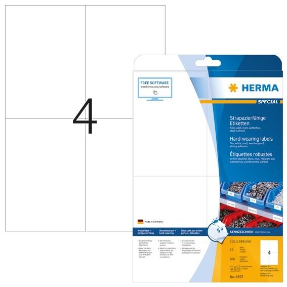 HERMA 4697 Etiketten strapazierfähig A4 105x148 mm weiß stark ha