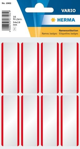 HERMA 1902 Namensetiketten 54x19 mm weiß/rote Streifen ablösbar