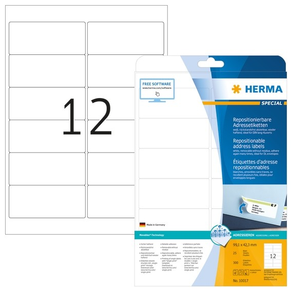HERMA 10017 Repositionierbare Adressetiketten A4 99,1x42,3 mm we