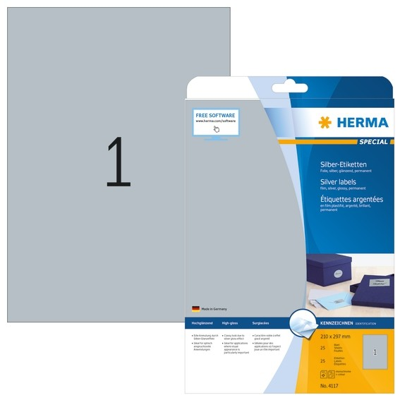 HERMA 4117 Etiketten A4 210x297 mm silber Folie glänzend 25 St.