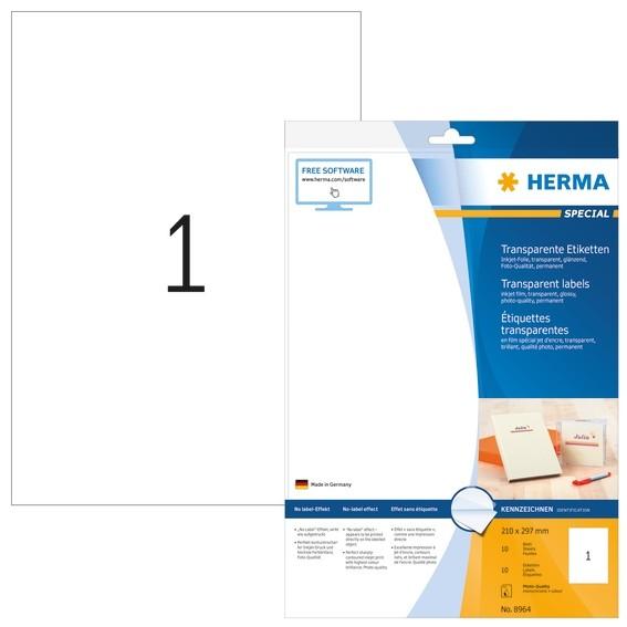 HERMA 8964 Inkjet Folien-Etiketten transparent A4 210x297 mm Fol