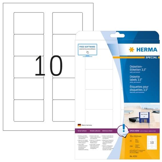 HERMA 4353 Disketten-Etiketten A4 70x50,8 mm weiß Papier matt 25