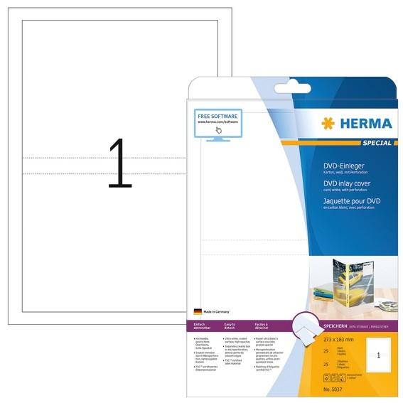 HERMA 5037 DVD-Einleger A4 273x183 mm weiß Karton perforiert nic