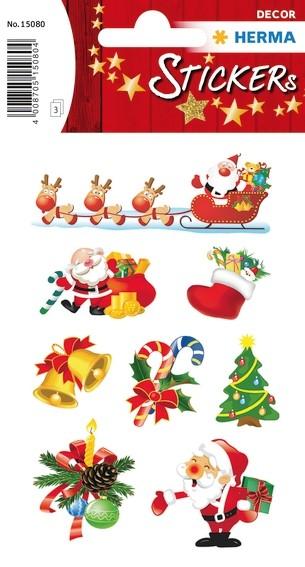 HERMA 15080 10x Sticker DECOR Weihnachten Santa Claus