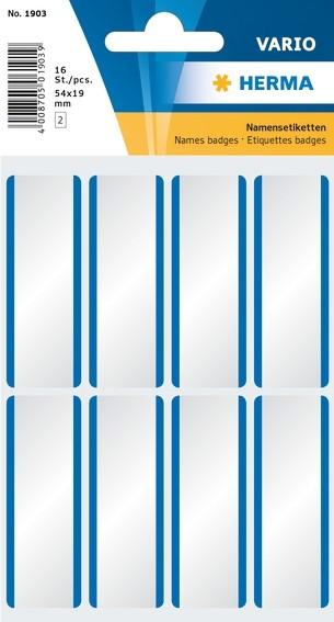 HERMA 1903 Namensetiketten 54x19 mm weiß/blaue Streifen ablösbar
