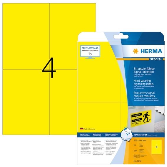 HERMA 8032 Signal-Schilder strapazierfähig A4 105x148 mm gelb st