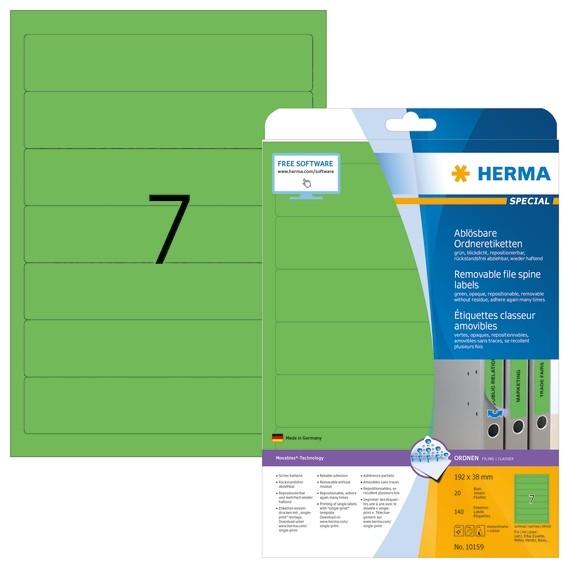 HERMA 10159 Ablösbare Ordneretiketten A4 192x38 mm grün Movables