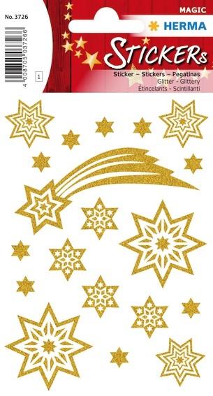 HERMA 3726 10x Sticker MAGIC Sterne + Schweif, glittery