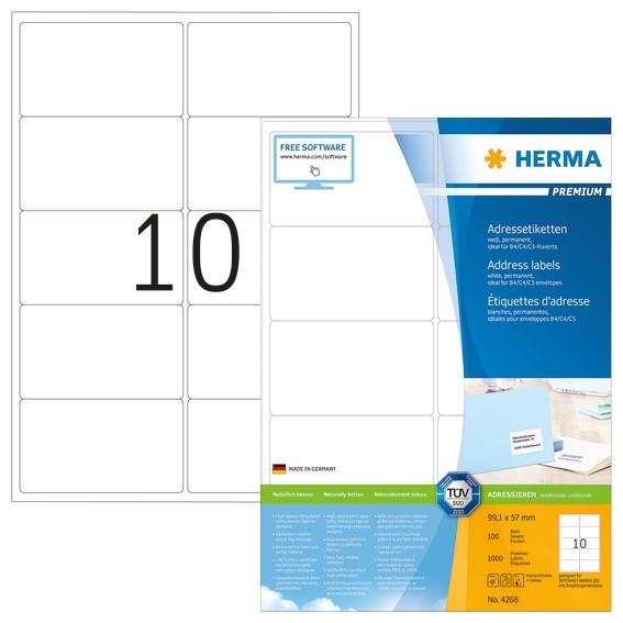 HERMA 4268 Adressetiketten Premium A4 99,1x57 mm weiß Papier mat