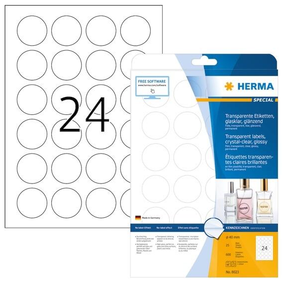 HERMA 8023 Etiketten transparent glasklar A4 Ø 40 mm rund transp