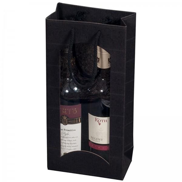 Geschenk-Flaschentasche für 2 Weinflaschen mit Sichtfenster Schwarz
