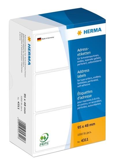 HERMA 4311 Adressetiketten für Schreibmaschinen endlos leporello