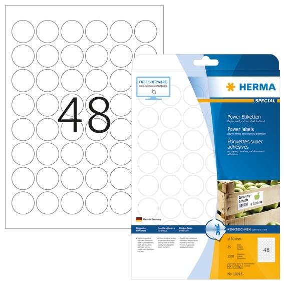 HERMA 10915 Etiketten A4 Ø 30 mm rund weiß extrem stark haftend