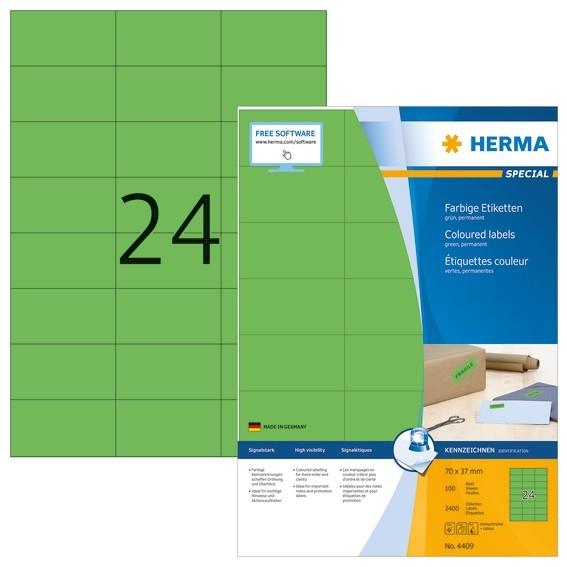 HERMA 4409 Farbige Etiketten A4 70x37 mm grün Papier matt 2400 S