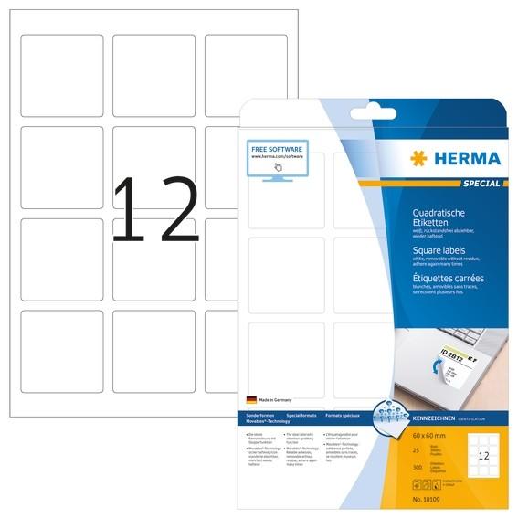 HERMA 10109 Ablösbare Etiketten A4 60x60 mm weiß quadratisch Mov