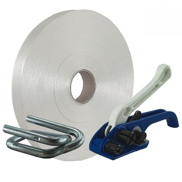 35 mm Textil Umreifung Set Umreifungsband Bandspanner Metallklem