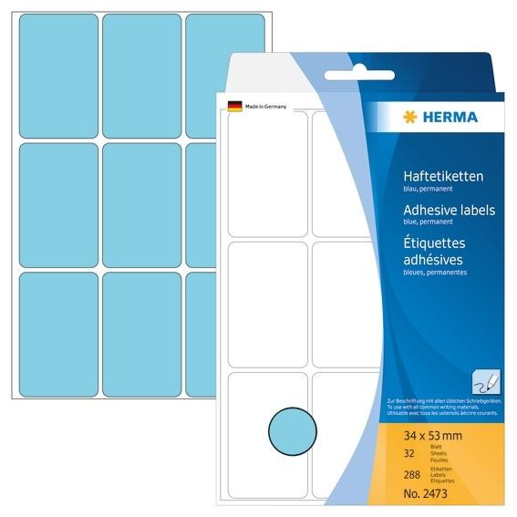 HERMA 2473 Vielzwecketiketten 34x53 mm blau Papier matt Handbesc