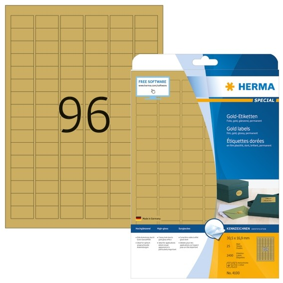 HERMA 4100 Etiketten A4 30,5x16,9 mm gold Folie glänzend 2400 St