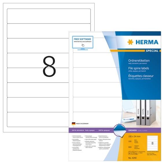 HERMA 4290 Ordneretiketten A4 192x34 mm weiß Papier matt blickdi