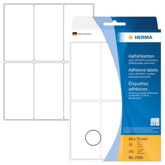 HERMA 2590 Vielzwecketiketten 40x75 mm weiß Papier matt Handbesc