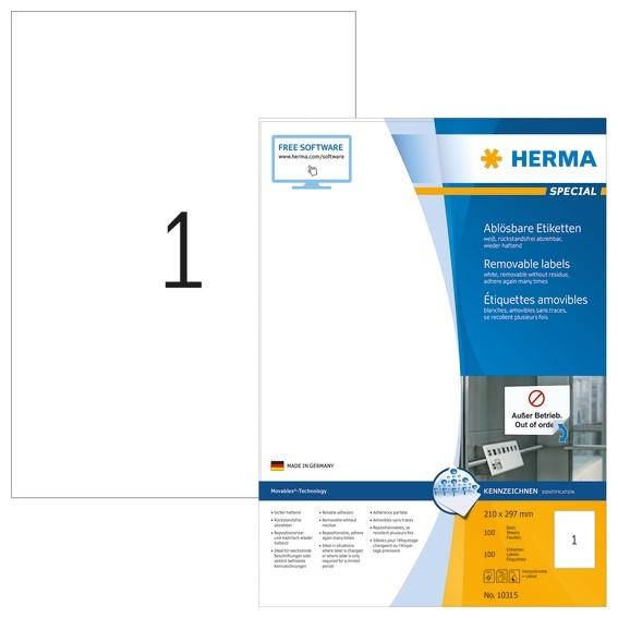 HERMA 10315 Ablösbare Etiketten A4 210x297 mm weiß Movables/ablö